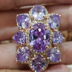 Lavender pink crystal ring